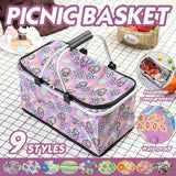 47x27x24cm 30L Folding Picnic Basket Floral Pattern Camping Insulated Cooler Cool Hamper Storage Basket Box outdoor Picnic Bag
