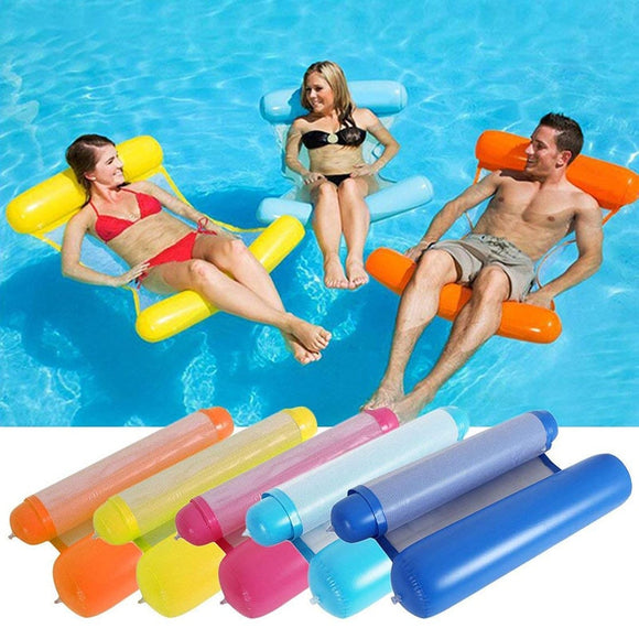 Foldable Floating Water Hammock Float Lounger Floating Toys Inflatable Floating Bed Chair Swimming Pool Inflatable Hammock Bed