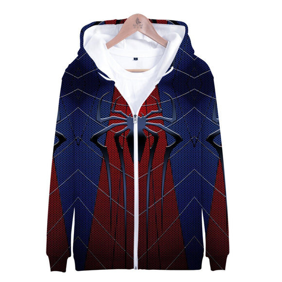 3D Spider-Man Zip Up Hoodie Sweatshirts Long Sleeve Zipper Men woman Masked Spiderman SpiderHoodie Cosplay Sweatshirt Jacket