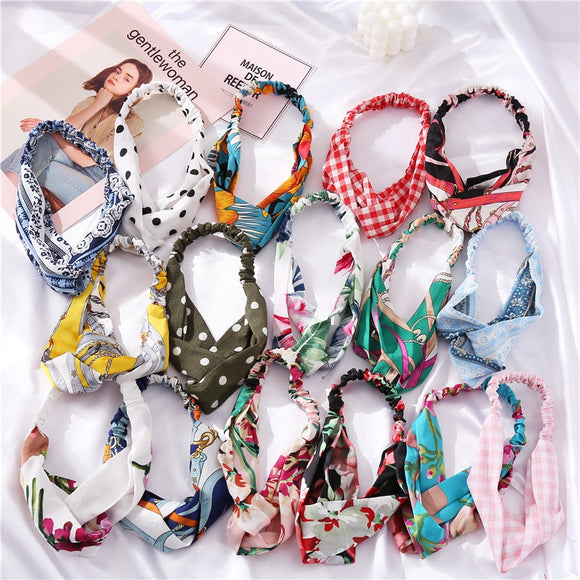 Vintage Flower Cross Knot Elastic Hairbands For Girls Pink Red Black Hair Bands Elastic Headwear Head Wrap Hair Accessories 2020