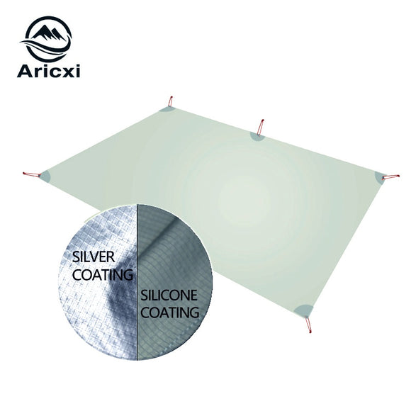 Aricxi Ultralight Tarp Lightweight MINI Sun Shelter Camping Mat Tent Footprint 15D Nylon Silicone silver coated enda Para Carro