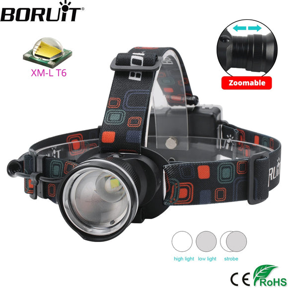 BORUiT RJ-2166 4000LM T6 LED Headlamp 3-Mode Zoom Headlight Waterproof Head Torch for Camping Hunting Flashlight by AA Battery