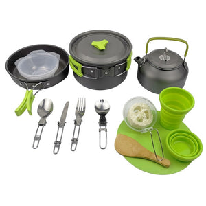 Aluminum Alloy Outdoor Camping Trip Cookware Camping Pot Hiking Picnic Tourist Tableware Set With Folding Spoon