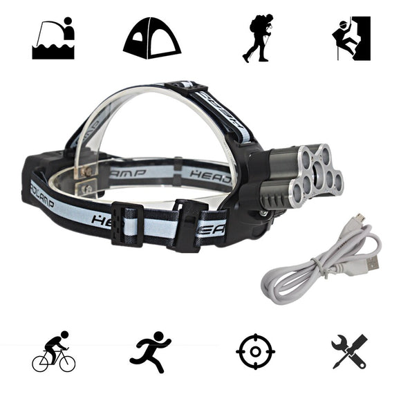 Tactical Headlamp 7 LED T6/Q5 Headlight USB Rechargeable Head Lamp Camping Light Fishing Flashlight with USB Charger