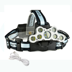 USB Rechargeable Headlamp 7 LED Tactical Headlight T6/Q5 Head Lamp Camping Light Fishing Flashlight + USB Charging Cale
