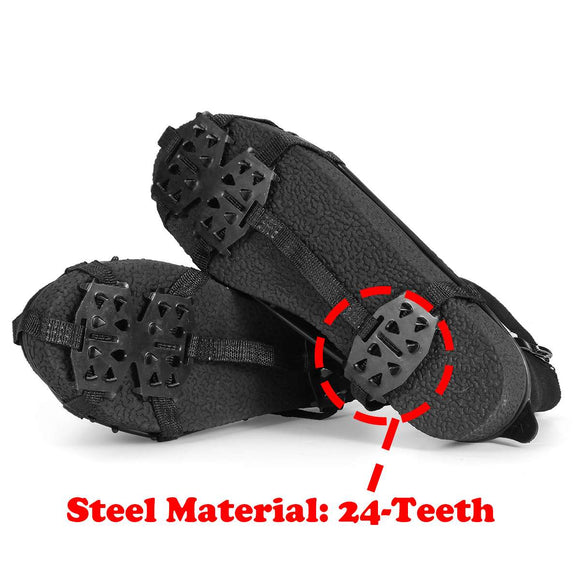 1 Pair M L 24 Teeth Anti-Slip Ice Grips Gripper Shoes Boot Hiking Ice Climbing Shoe Spikes Climbing Chain Crampons Shoes Cover