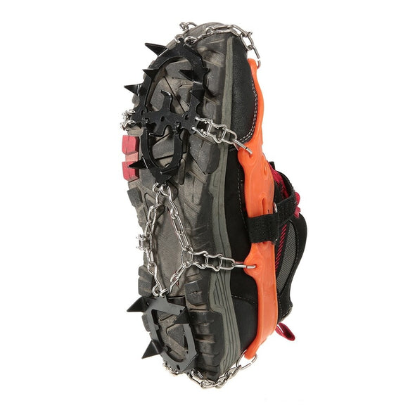2pcs 14-Teeth 2 Color Sports Anti-Slip Ice Gripper Cleats Shoe Boot Grips Crampon Chain Spike Snow for Hiking Climbing