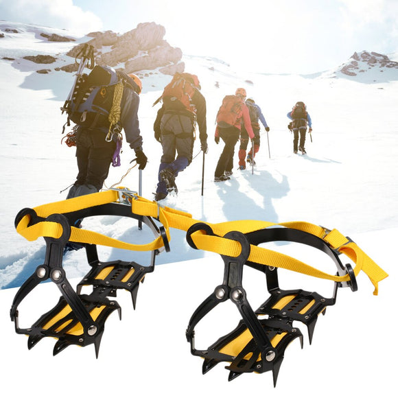 10 Spikes Crampons Stainless Steel Crampons with Strap Antiskid Ice Snow Grips Climbing Ice Fishing Crampons Shoe Covers