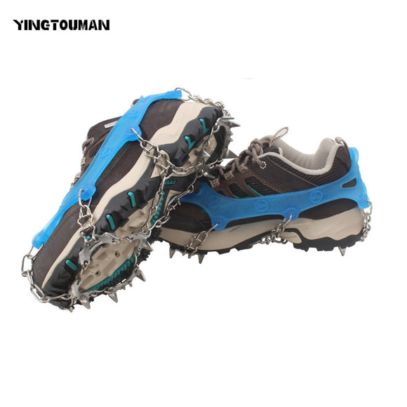 YINGTOUMAN Outdoor Climbing Shoe Chain 13/18-teeth Ice Claw Anti-Slip Ice Gripper Cleats Shoe Grip Crampon Chain Spike Snow
