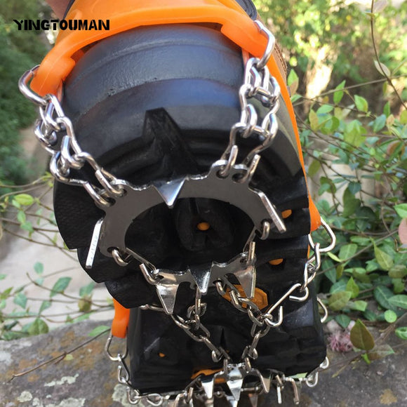 YINGTOUMAN Stainless Steel 18-Teeth 2 Color Anti-Slip Ice Gripper Cleats Shoe Boot Grip Crampon Chain Spike Snow For Climbing
