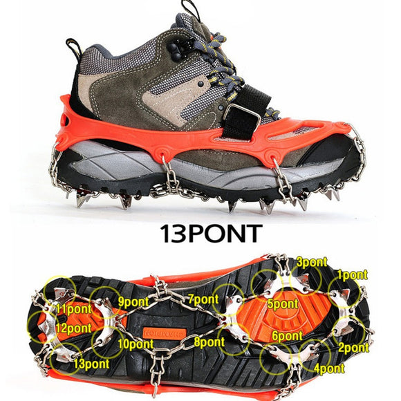 Outdoors Climbing 1 Pair 13 Teeth Ice Snow Grips Crampons Winter Hiking Shoes Cleats Chain Ice Gripper
