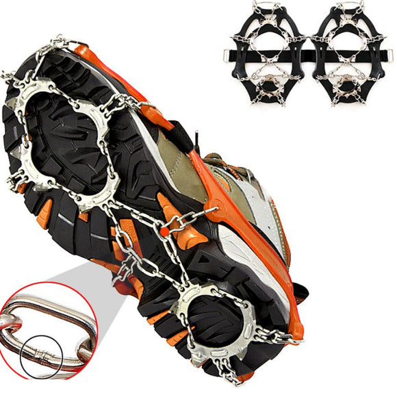 Outdoor Climbing 1 Pair 13 Teeth Ice Snow Grips Crampons Winter Hiking Shoes Cleats Chain Ice Gripper