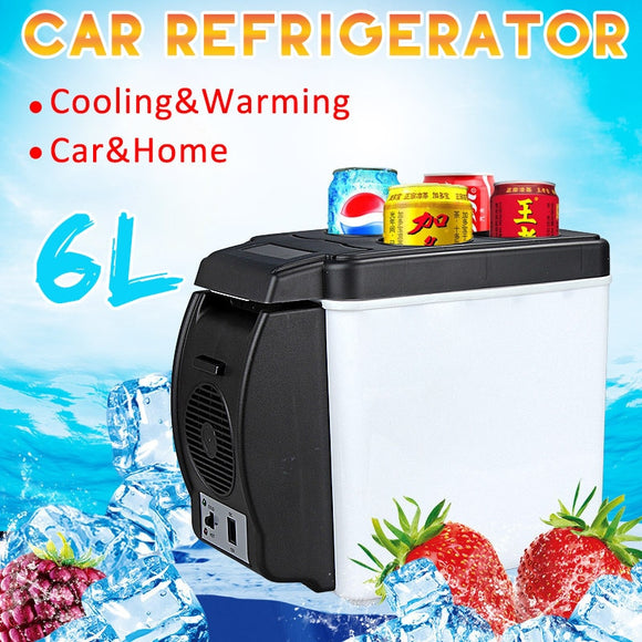 6L 65W Car Refrigerator Electric Cool Box Cooler and Warmer Mini Camping Fridge 12V Travel Portable Box Freezer for Auto Truck