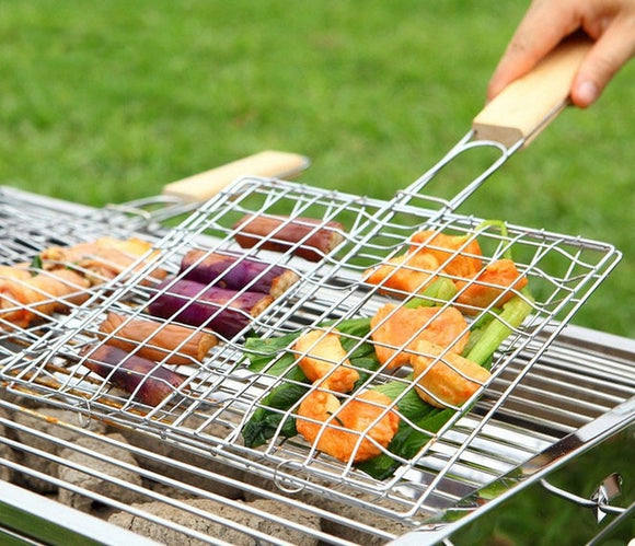 1PC BBQ Mesh Outdoor Camping bbq Grill Mesh Barbecue Net Tongs Clip Barbeque Meshes bbq Accessories Cooking Tools OK 0394