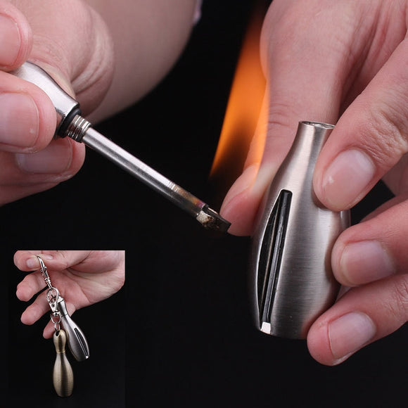 Torch Lighter Creative Stainless Steel Bowling Kerosene Oil Flame Lighter Million Matches Flint Fire Starter