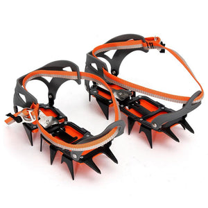 1 Pair 12 Teeth Ice Crampons Winter Climbing Hiking Anti Slip Safety Tool Non-Slip Snow Shoes Spikes Grips Cleats Crampons