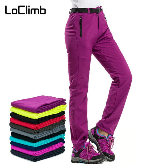 LoClimb Women's Winter Hiking Pants Outdoor Sports Fleece Softshell Trousers Mountain/Ski/Trekking Waterproof Pants Women AW195