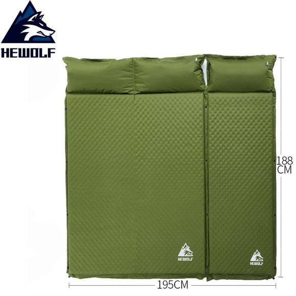 HEWOLF 2+1 spliced outdoor thick 5cm automatic inflatable cushion pad outdoor tent camping mats bed mattress 2colors