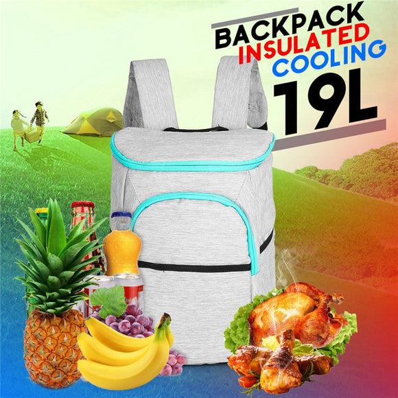 19L Insulated Cooling Backpack Picnic Camping Hiking Beach Park Ice Cooler Bag Lunch Rucksack Unisex Oxford fabric Backpacks