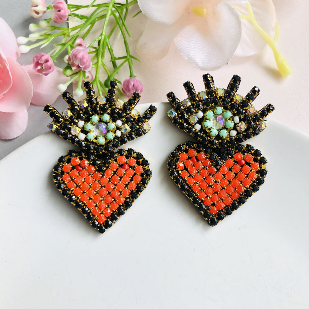 Evil Eye Stud with heart statement earrings - Shinedesignandshop