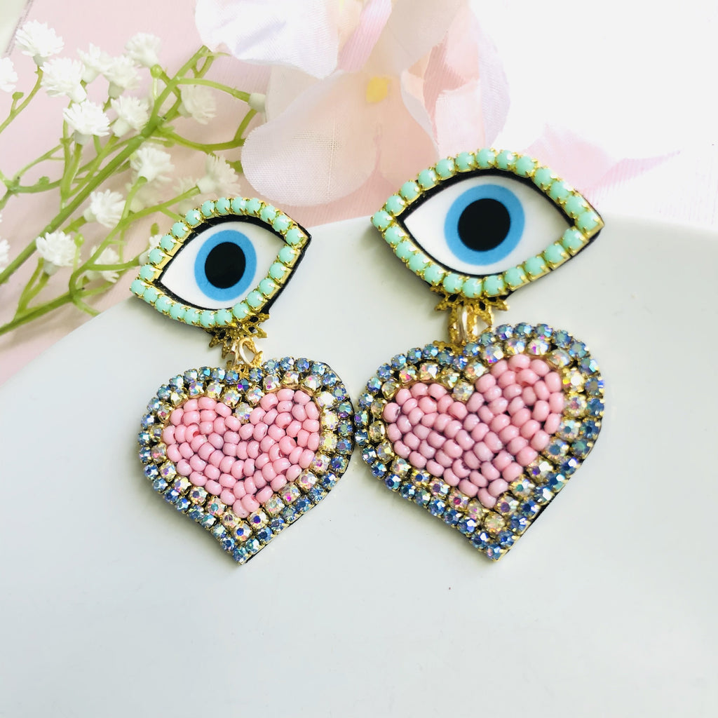 Blue Evil Eye and pink heart chandelier statement earrings - Shinedesignandshop