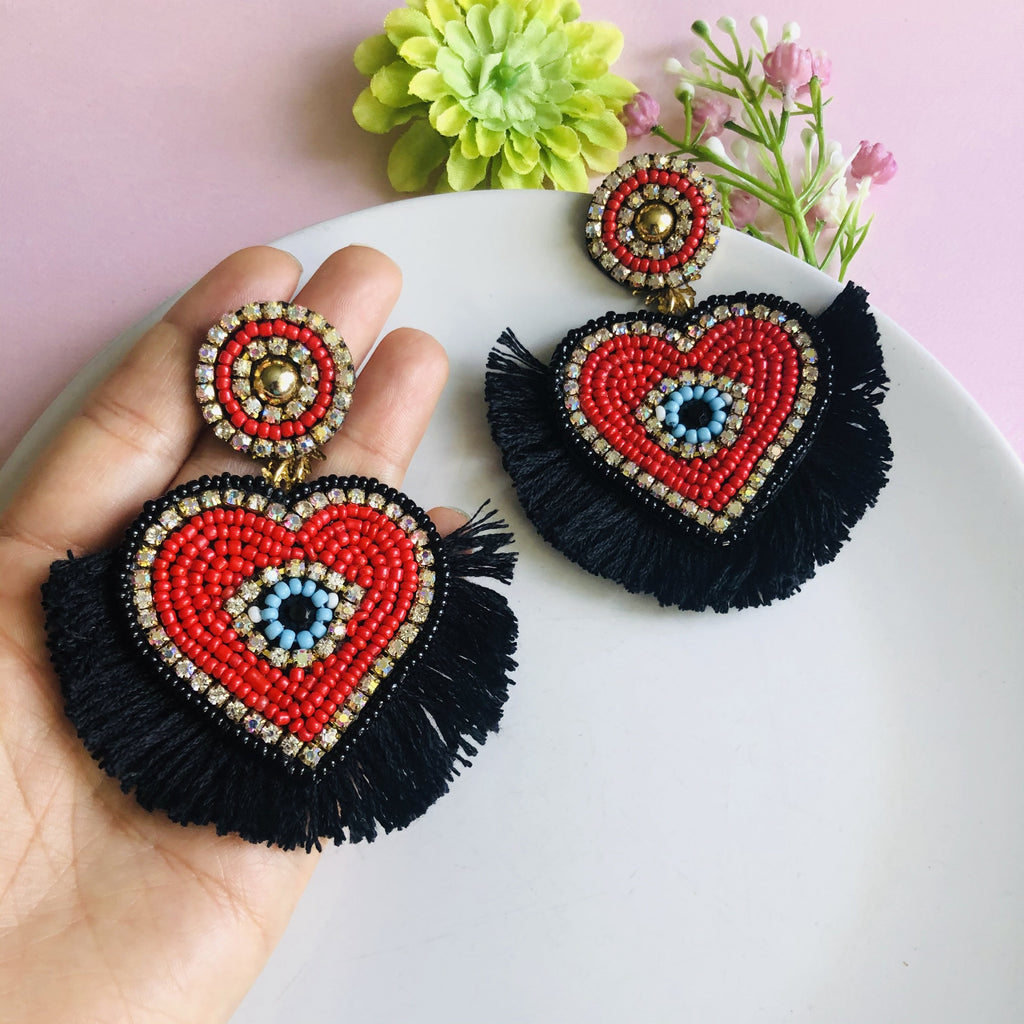 Statement Red Heart with Evil Eye Tassel earrings - Shinedesignandshop