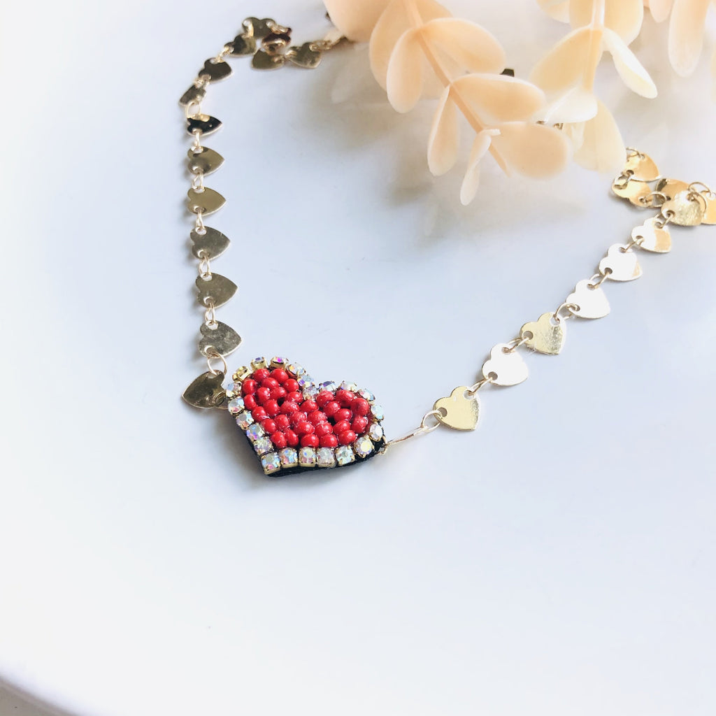 Beaded red heart charm choker necklace - Shinedesignandshop