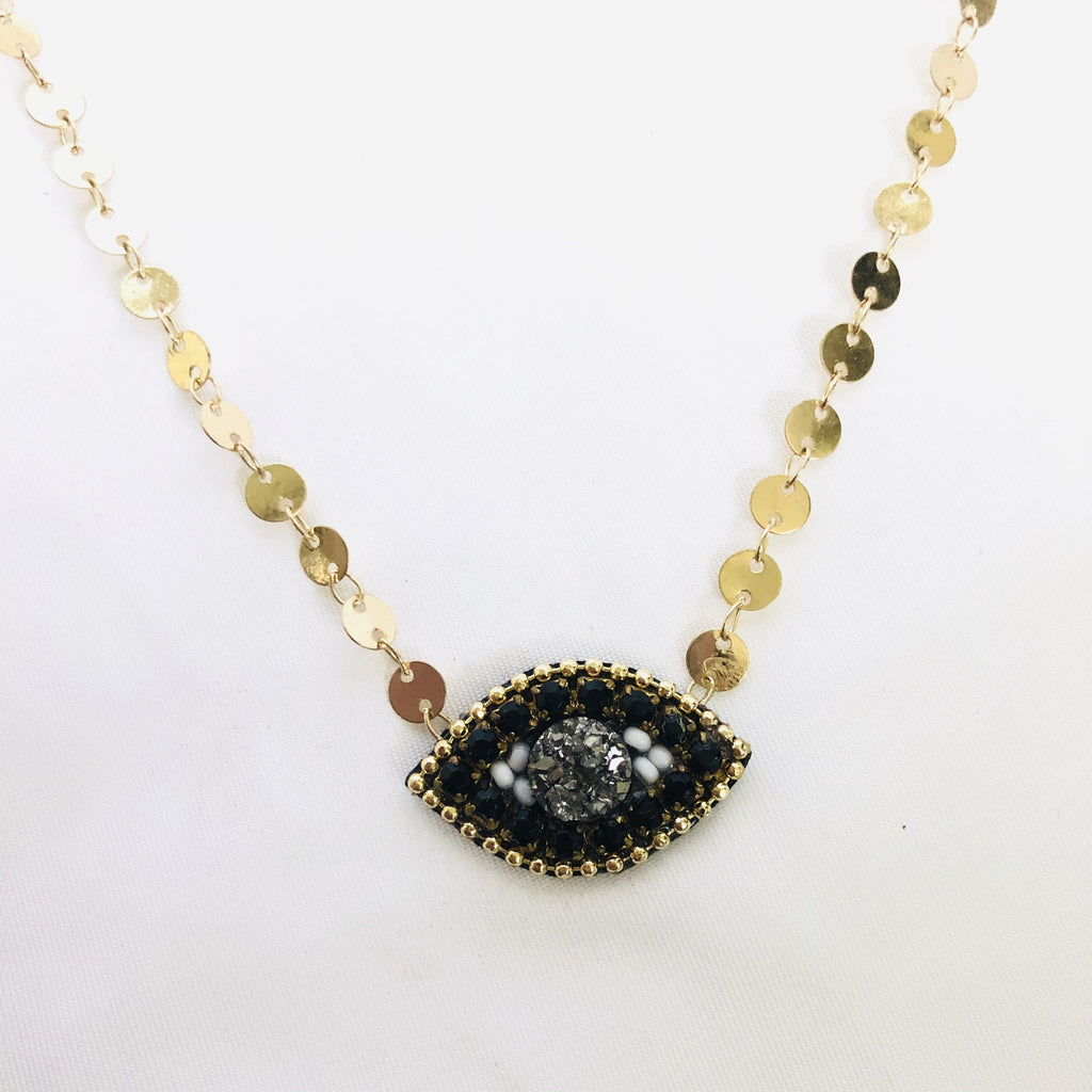 Black Evil Eye choker necklace circle chain - Shinedesignandshop