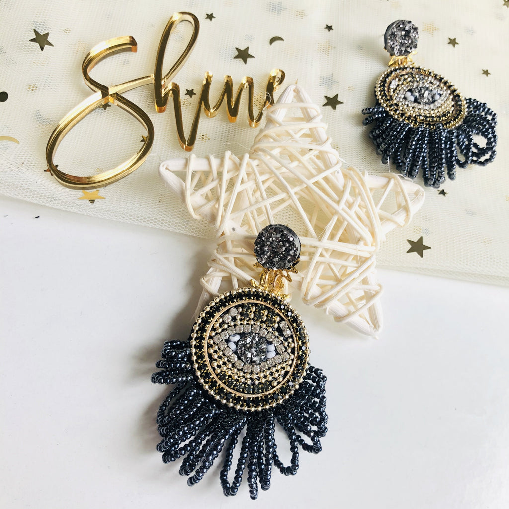Evil Eye Statement Earrings with beaded long fringe - Shinedesignandshop