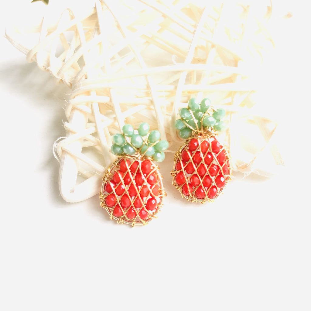 Wire Wrapped beaded orange and yellow Pineapple stud earrings - Shinedesignandshop