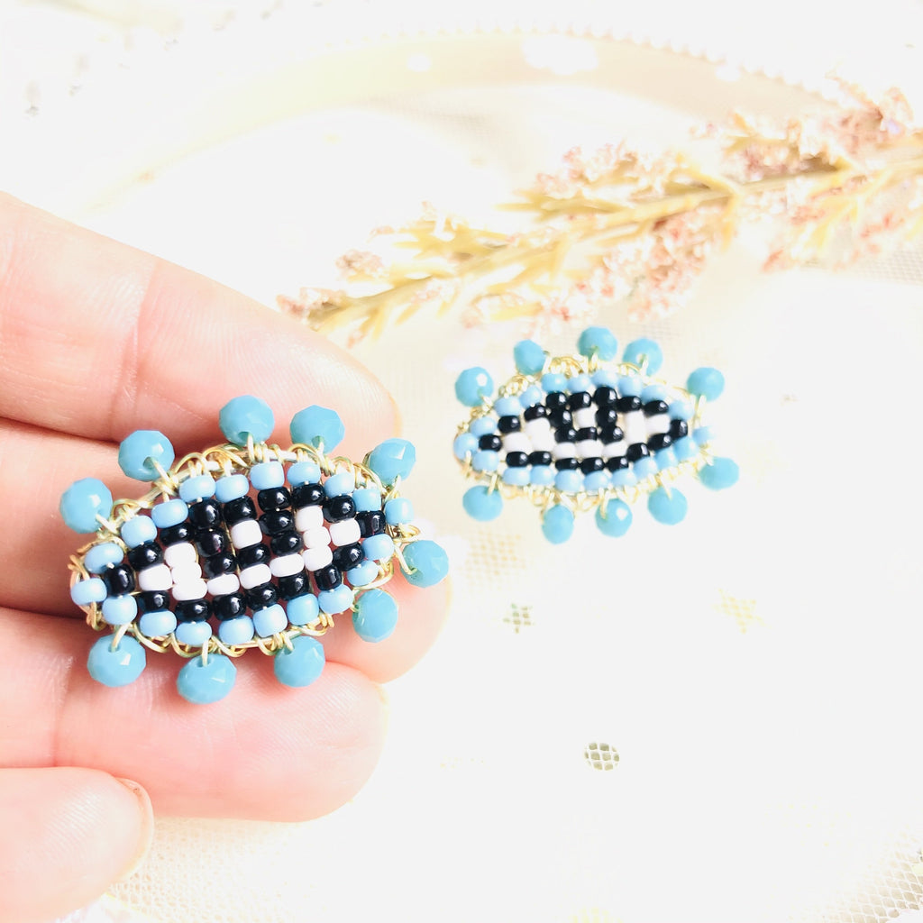 Wire wrapped blue Evil Eye stud Earrings - Shinedesignandshop