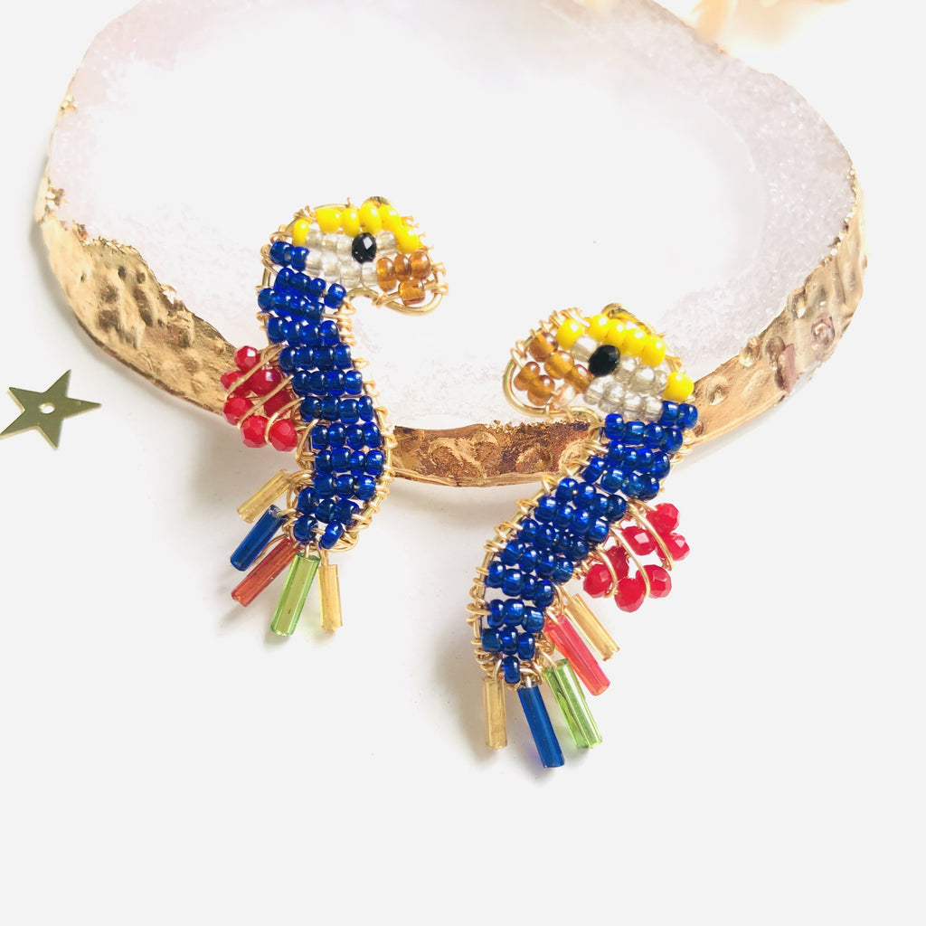 Wire wrapped Beaded rainbow parrot stud earrings - Shinedesignandshop