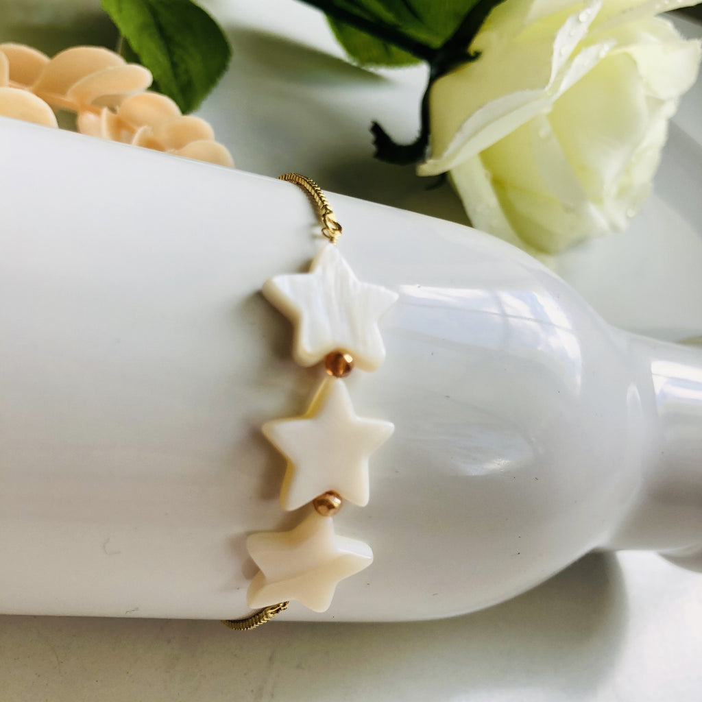 Mother Pearl adjustable gold filled bracelet - Shinedesignandshop