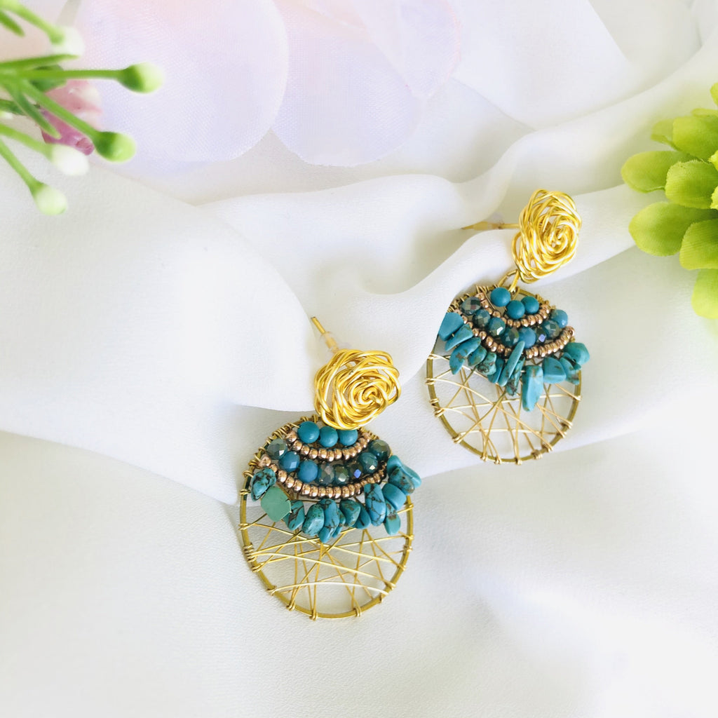 Delicate turquoise dreamcatcher beaded wire wrapped earrings - Shinedesignandshop