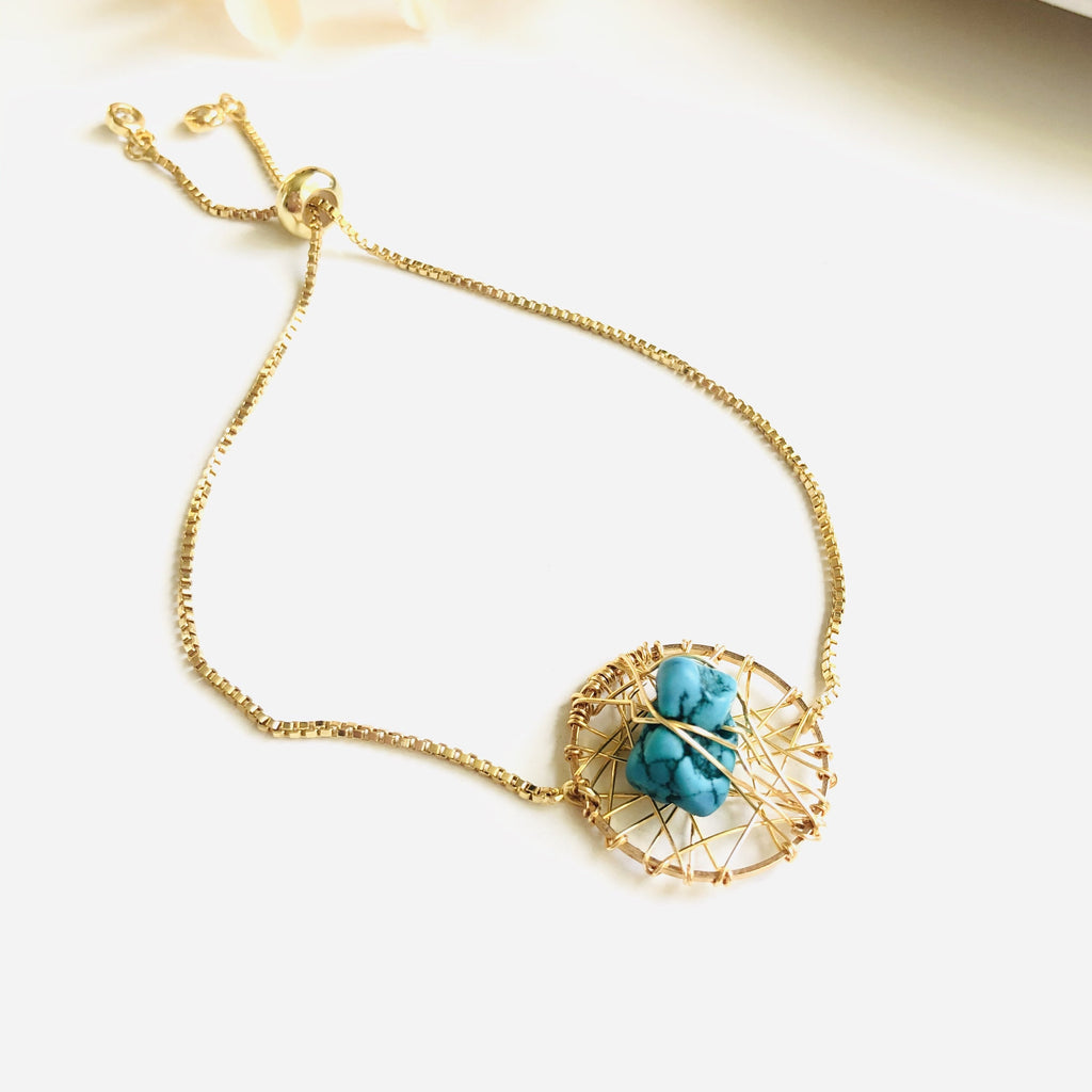 Natural turquoise wire wrapped dream catcher gold filled bracelet - Shinedesignandshop