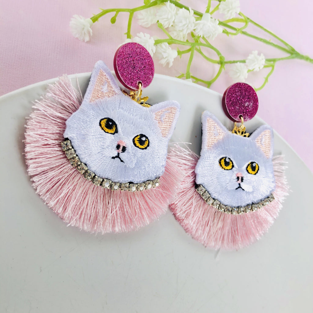 Kitty cat pink tassel Statement Earrings - Shinedesignandshop