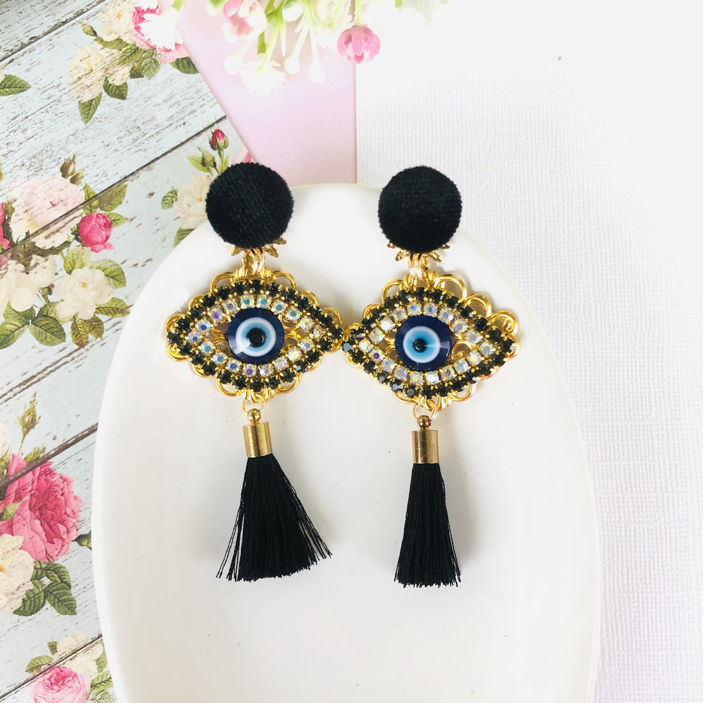 Rhinestone Evil Eye Tassel Statement Earrings - Shinedesignandshop