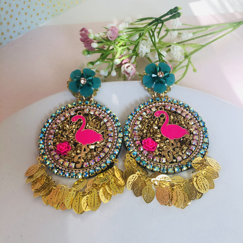 Chandelier Flamingo Earrings with flower stud top - Shinedesignandshop