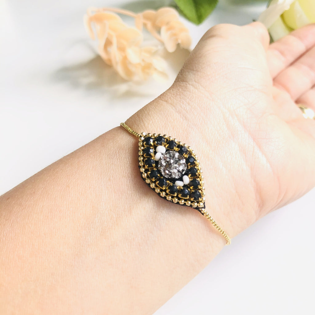 Evil eye amulet charm gold filled adjustable bracelet - Shinedesignandshop
