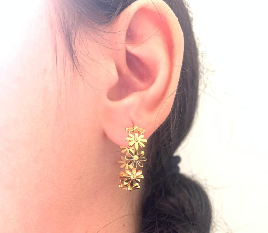 Chunky Flower Gold Hoop Earrings - Shinedesignandshop