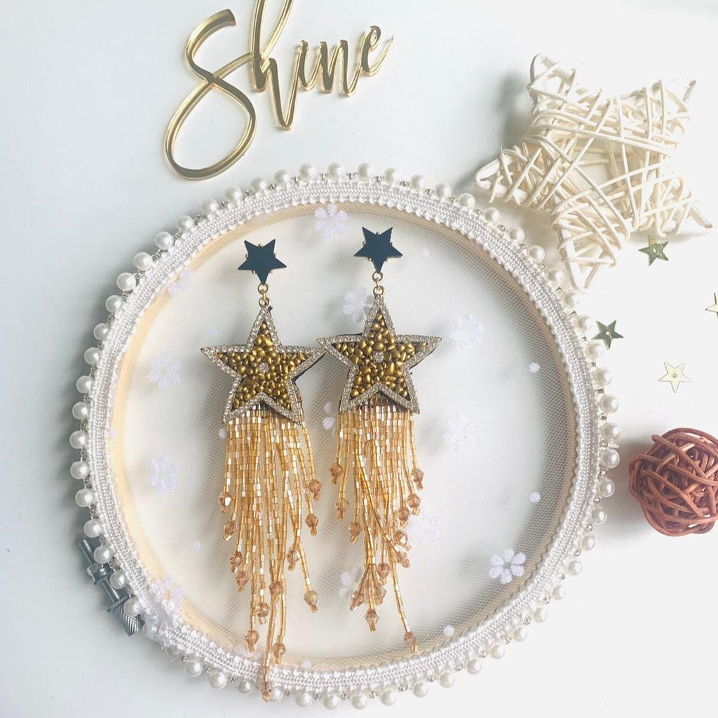 Star Chandelier Earrings with seed beed fringe - Shinedesignandshop