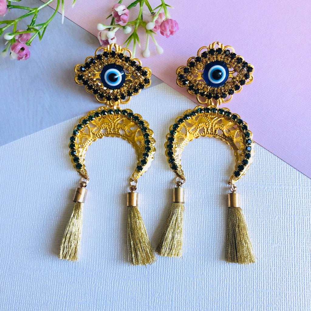 Evil Eye and Moon Gold Tassel Earrings - Shinedesignandshop