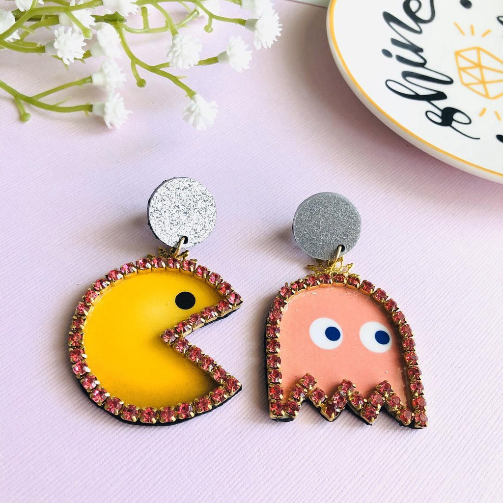 Handmade Pac Man statement earrings - Shinedesignandshop
