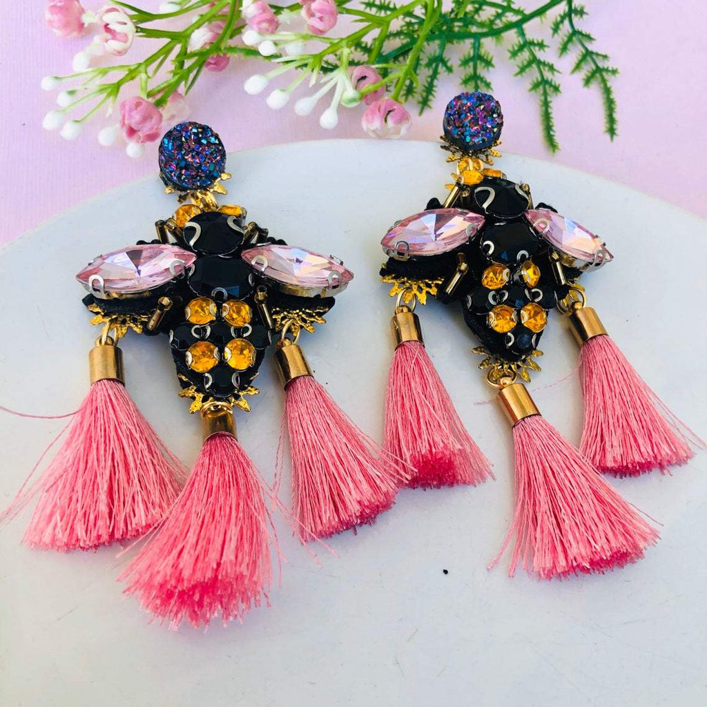 Beaded Bumblebee chandelier earrings with pink tassels - Shinedesignandshop