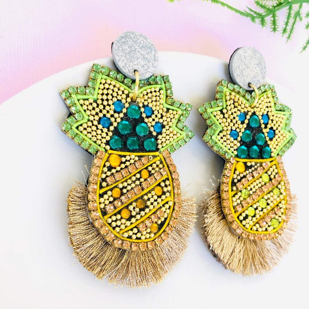 Handmade crystal pineapple statement earrings with rose gold tassel - Shinedesignandshop