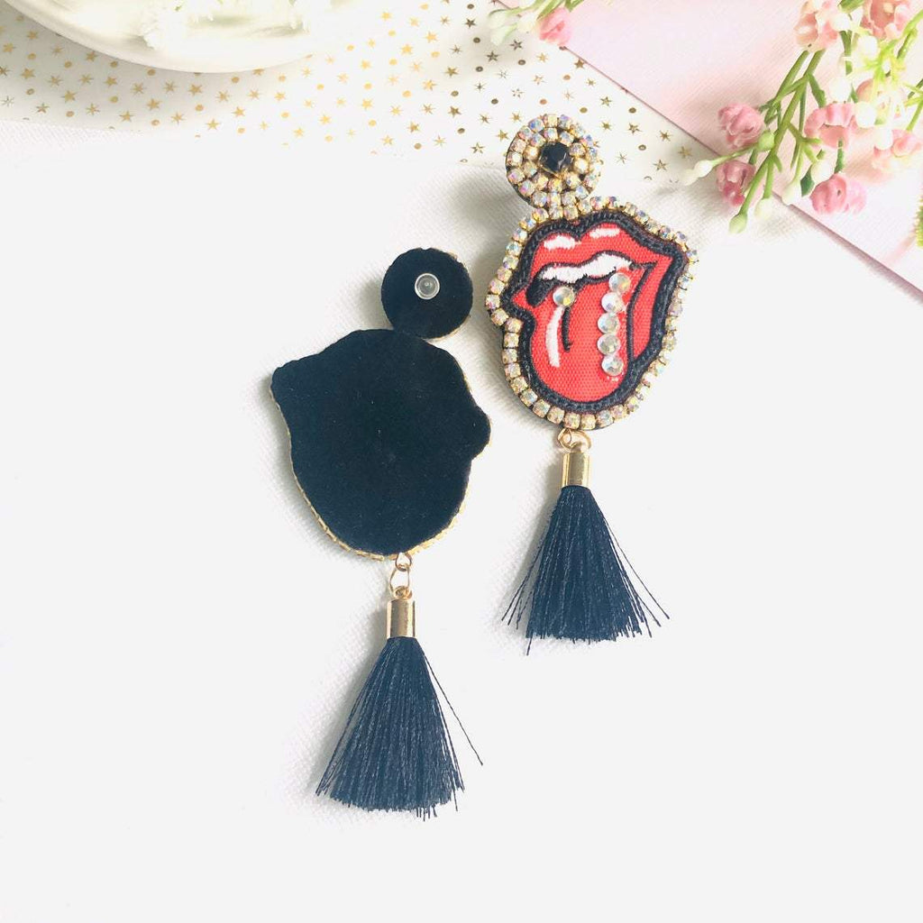 Embroidery Rolling Stones mouth lips tassel statement earrings - Shinedesignandshop