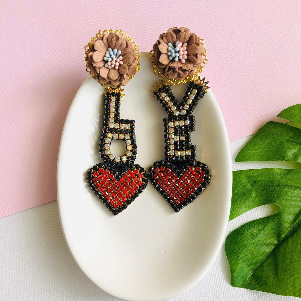 Big Love Letter Heart Shaped Statement Earrings with pink Flower Stud - Shinedesignandshop