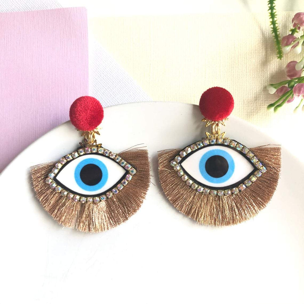 Blue Evil Eye Fan Tassel chandelier statement earrings - Shinedesignandshop