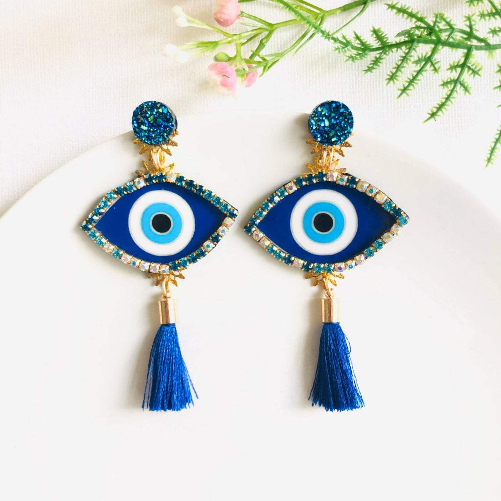 Blue Turkish Evil Eye single tassel statement earrings - Shinedesignandshop
