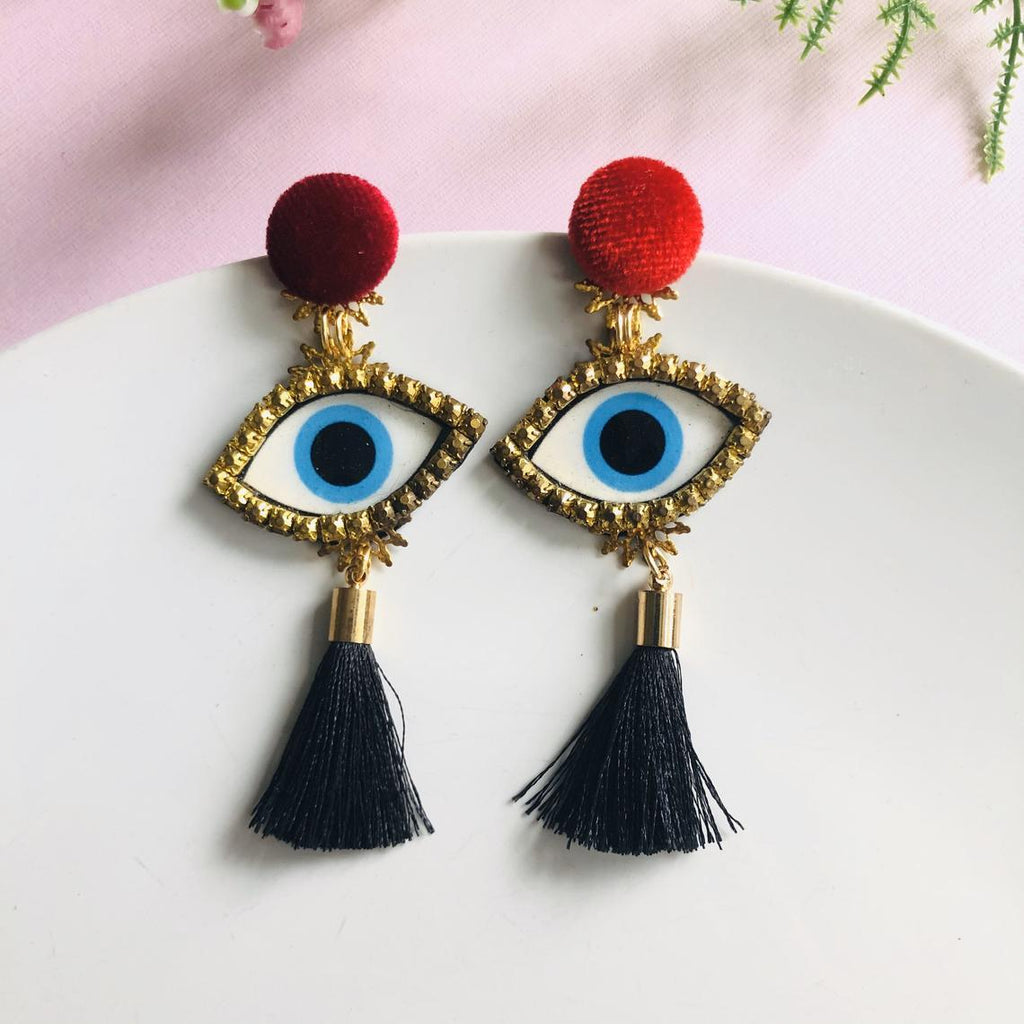 Small Evil Eye Tassel Chandelier statement earrings - Shinedesignandshop